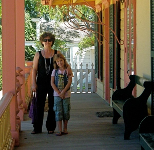 Photo of EncinoMom's Lisa Keating & daughter at Mission San Juan Bautista in California