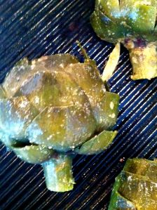 Photo of artichoke on the stove top grill