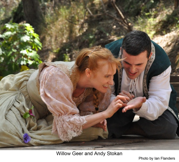 Photo of Willow Geer as Helena & Andy Stokan as Demetrius in A Midsummer Night's Dream at Theatricum Botanicum.