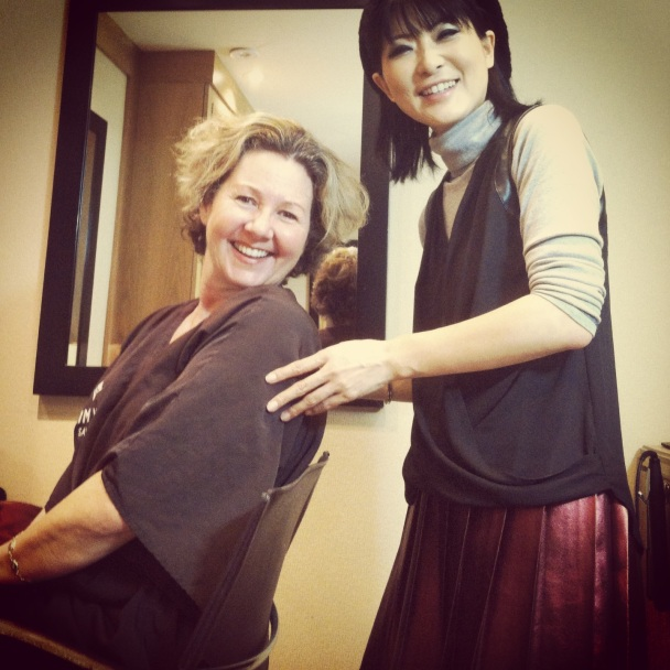Mika Fowler and Lisa Keating in Beverly Hills, California at the Kim Vo Salon inside of the Montage Hotel.