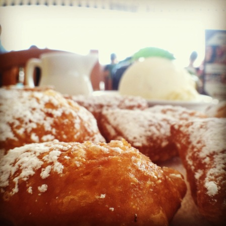 Macro photo of beignets at The Beachcomber Restaurant. Photo by Lisette Keating.