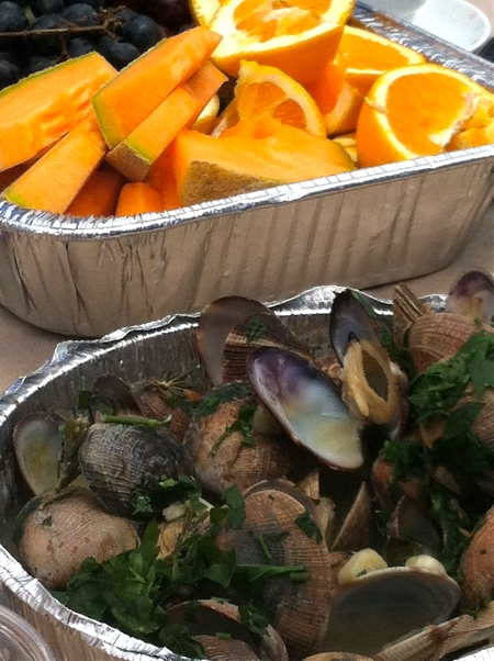 Photo of Cantaloupe served with Steamed Clams on EncinoMom.com.