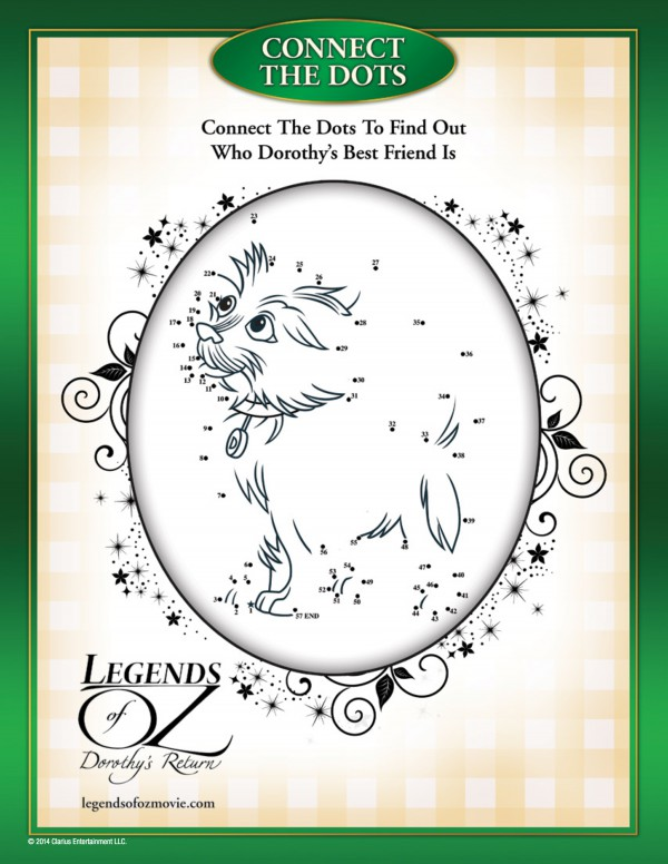 Connect the dots to draw Toto in this activity sheet from Legends of Oz. #OzInsiders