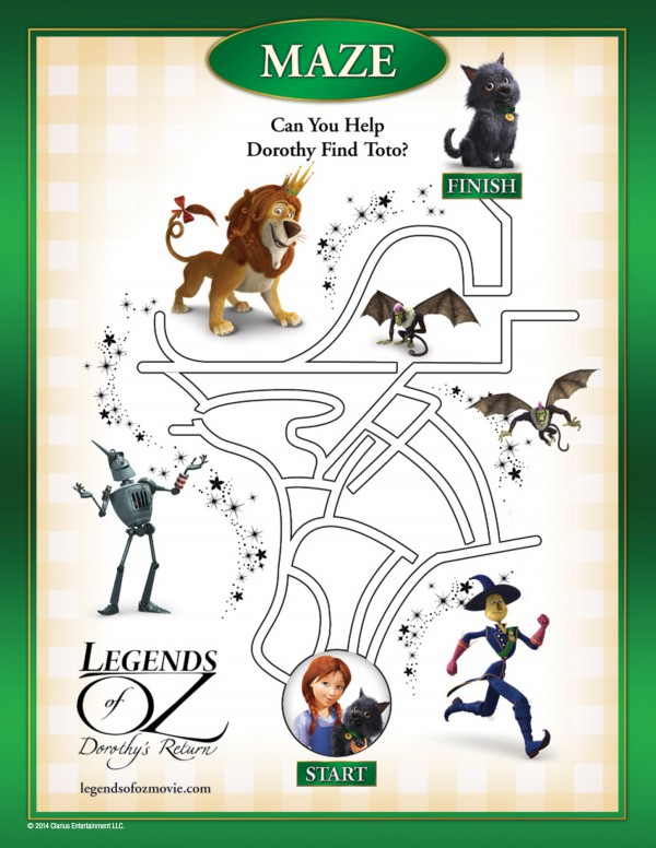 Help Dorothy find her way home with this downloadable maze from Legends of Oz. #OzInsiders