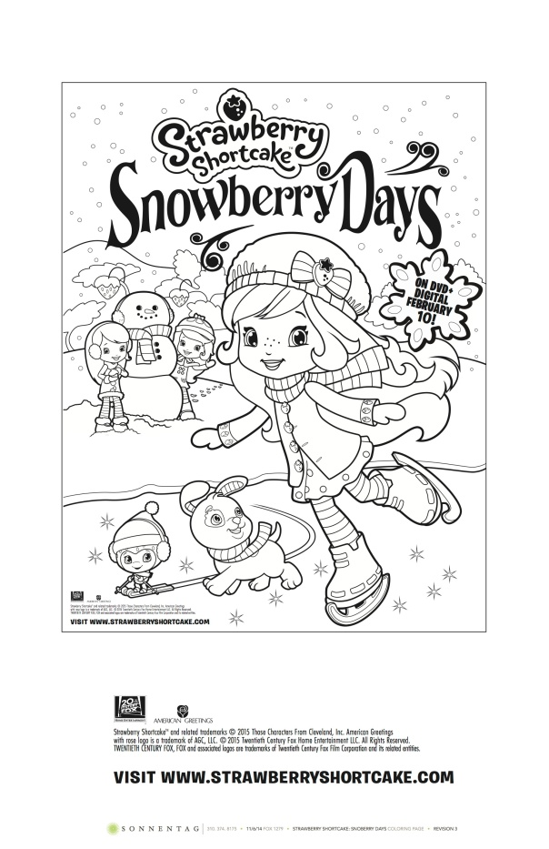 Strawberry Shortcake Snowberry Days Coloring Sheet.