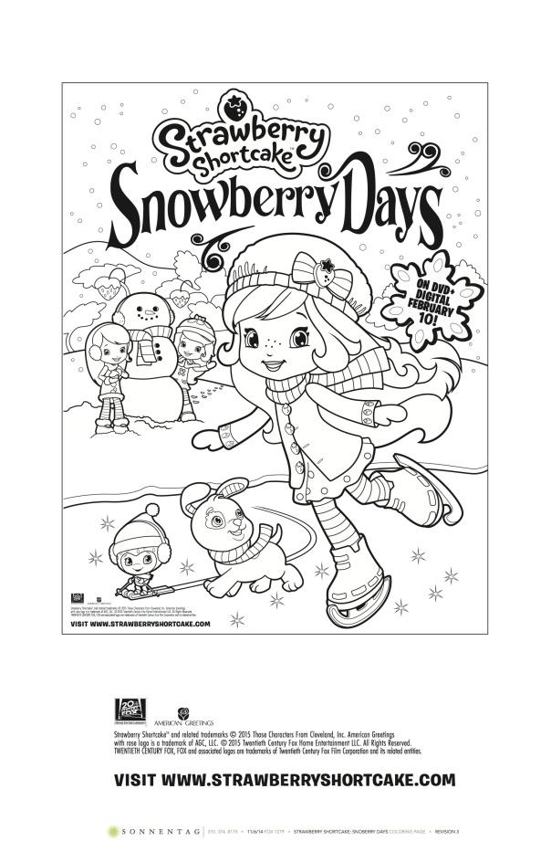 Strawberry Shortcake Snowberry Days Coloring Sheet.