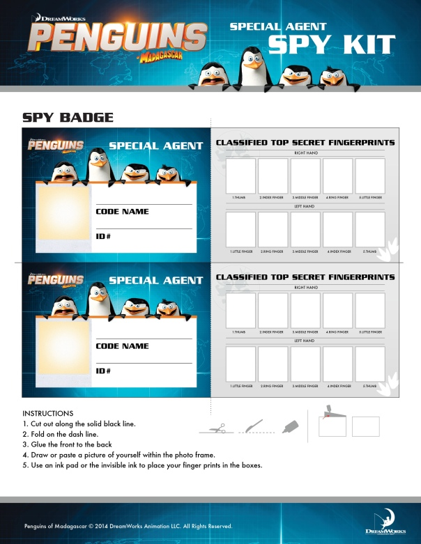 Activity Sheet Penguins of Madagascar.