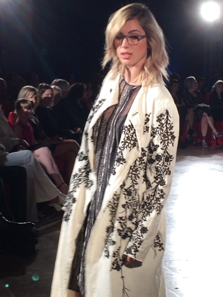 Black and white coat at Santa Fe Street Fashion Show.